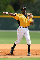 Pittsburgh Pirates shortstop Alen Hanson #43 during practice before an Instructional League game against the Philadelphia Phillies at Pirate City on October 11, 2011 in Bradenton, Florida.  (Mike Janes/Four Seam Images)