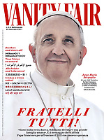 Vanity Fair Italian Magazine Pope Francis  cover on January 6, 2021<br /> Photograph by Stefano Spaziani.