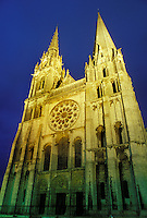 cathedral, France, Chartres, Eure et Loir, Centre, Europe, 13th Century Notre Dame Cathedral illuminated at night in the village of Chartres.