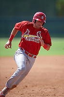 GCL Cardinals first baseman Tyler Lancaster (34) running the bases during the first game of a doubleheader against the GCL Marlins on August 13, 2016 at Roger Dean Complex in Jupiter, Florida.  GCL Cardinals defeated GCL Marlins 4-2 in a continuation of a game originally started on August 8th.  (Mike Janes/Four Seam Images)