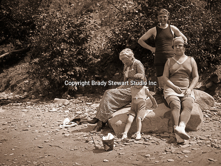 North East PA:  Three generations of the Stewart family vacationing on Lake Erie - Alice, Brady, Aunt Helen, and little Helen.  This was the Stewart family's first Lake Erie vacation after Brady Stewart served his country during World War 1.  The Stewart family rented a cabin on Lake Erie near North East.