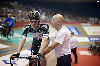 Iljo Keisse (BEL/OmegaPharma-Quickstep) getting ready for the derny race<br /> <br /> Ghent 6 - day 1