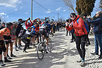 Diego Rosa (ITA) Team Sky out front alone climbing sector 8 Monte Santa Maria during Strade Bianche 2019 running 184km from Siena to Siena, held over the white gravel roads of Tuscany, Italy. 9th March 2019.<br /> Picture: LaPresse/Fabio Ferrari   Cyclefile<br /> <br /> <br /> All photos usage must carry mandatory copyright credit (© Cyclefile   LaPresse/Fabio Ferrari)
