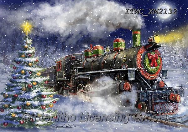 Marcello, CHRISTMAS LANDSCAPES, WEIHNACHTEN WINTERLANDSCHAFTEN, NAVIDAD PAISAJES DE INVIERNO, paintings+++++,ITMCXM2132,#xl#,locomotive,train ,puzzle,puzzles