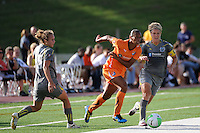 Rosana (11) of Sky Blue FC attempts to split Nikki Krzysik (15) and Lori Lindsey (6) of the Philadelphia Independence. The Philadelphia Independence defeated Sky Blue FC 2-1 during a Women's Professional Soccer (WPS) match at John A. Farrell Stadium in West Chester, PA, on June 6, 2010.