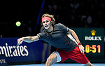 Alexander Zverev in action against Roger Federer in their Semi finals match <br /> <br /> Photographer Hannah Fountain/CameraSport<br /> <br /> International Tennis - Nitto ATP World Tour Finals Day 7 - O2 Arena - London - Saturday 17th November 2018<br /> <br /> World Copyright © 2018 CameraSport. All rights reserved. 43 Linden Ave. Countesthorpe. Leicester. England. LE8 5PG - Tel: +44 (0) 116 277 4147 - admin@camerasport.com - www.camerasport.com