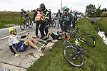 Crash for Boy Van Poppel (NED) Circus-Wanty Gobert during the 82nd edition of Gent-Wevelgem 2020 running 232km from Ypres to Wevelgem, Belgium. 11th October 2020.  <br /> Picture: Bora-Hansgrohe/Nico Vereecken/CV/BettiniPhoto   Cyclefile<br /> <br /> All photos usage must carry mandatory copyright credit (© Cyclefile   Bora-Hansgrohe/Nico Vereecken/CV/BettiniPhoto)