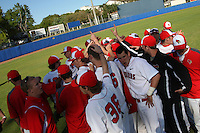 Illinois State Redbirds team before a game vs. the Ohio State Buckeyes at Chain of Lakes Park in Winter Haven, Florida;  March 11, 2011.  Illinois defeated Ohio State 12-1.  Photo By Mike Janes/Four Seam Images