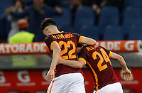 Calcio, Serie A: Roma vs Sampdoria. Roma, stadio Olimpico, 7 febbraio 2016.<br /> Roma's Alessandro Florenzi, right, celebrates with teammate Stephan El Shaarawy after scoring during the Italian Serie A football match between Roma and Sampdoria at Rome's Olympic stadium, 7 January 2016.<br /> UPDATE IMAGES PRESS/Riccardo De Luca