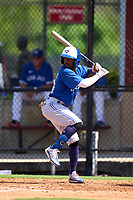 Toronto Blue Jays Justin Ammons (29) bats during an Extended Spring Training game against the Philadelphia Phillies on June 12, 2021 at the Carpenter Complex in Clearwater, Florida. (Mike Janes/Four Seam Images)