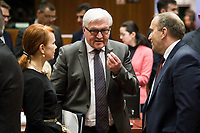 (L-R) Estonian Foreign Minister Keit Pentus-Rosimannus, German Foreign Minister Frank Walter-Steinmeier  and Grzegorz Schetyna, Polish Foreign Minister  prior to the European Union Foreign Ministers Council at EU headquarters  in Brussels, Belgium on 29.01.2015 Federica Mogherini , EU High representative for foreign policy called extraordinary meeting on the situation in Ukraine after the attack on Marioupol.  by Wiktor Dabkowski