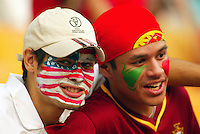 USA and Portugal fans. The USA won 3-2 over Portugal at the FIFA World Cup 2002 in Korea, June 5, 2002.
