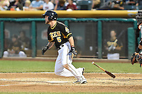 Shawn O'Malley (5) of the Salt Lake Bees at bat against the Fresno Grizzlies at Smith's Ballpark on May 25, 2014 in Salt Lake City, Utah.  (Stephen Smith/Four Seam Images)