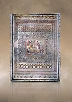 Roman mosaics - Persius & Andromeda Mosaic. Poseidon Villa Ancient Zeugama, 2nd - 3rd century AD . Zeugma Mosaic Museum, Gaziantep, Turkey.   Against an art background.