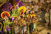 Imperatriz Leopolinense Samba School, Carnival, Rio de Janeiro, Brazil, 26th February 2017. The 'Beautiful Monster' - Belo Monstro - float. The Kayapo Indians are at the front of the float; from left: Beptirití Kayapó, Metuktire, woman, Raoni Metuktire and Megaron Txucarrhamãe.