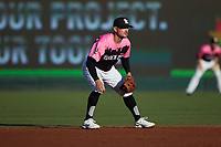 Charlotte Knights second baseman Matt Reynolds (1) on defense against the Gwinnett Stripers at Truist Field on July 17, 2021 in Charlotte, North Carolina. (Brian Westerholt/Four Seam Images)
