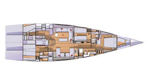 The interior layout of the Grand Soleil 72