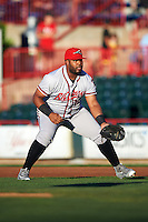 Richmond Flying Squirrels first baseman Angel Villalona (10) during a game against the Erie SeaWolves on August 22, 2016 at Jerry Uht Park in Erie, Pennsylvania.  Erie defeated Richmond 4-2.  (Mike Janes/Four Seam Images)