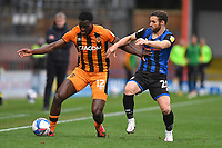 Hull City's Josh Emmanuel holds off Rochdale's Jimmy Ryan<br /> <br /> Photographer Dave Howarth/CameraSport<br /> <br /> The EFL Sky Bet League One - Rochdale v Hull City - Saturday 17th October 2020 - Spotland Stadium - Rochdale<br /> <br /> World Copyright © 2020 CameraSport. All rights reserved. 43 Linden Ave. Countesthorpe. Leicester. England. LE8 5PG - Tel: +44 (0) 116 277 4147 - admin@camerasport.com - www.camerasport.com