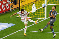 ST PAUL, MN - SEPTEMBER 27: Aaron Herrera #22 of Real Salt Lake clears the ball from Jacori Hayes #5 of Minnesota United FC during a game between Real Salt Lake and Minnesota United FC at Allianz Field on September 27, 2020 in St Paul, Minnesota.