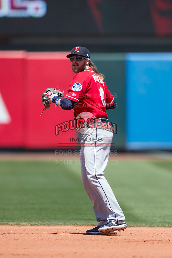 Tacoma Rainiers second baseman Taylor Motter (8) prepares to make a throw to first base during a Pacific Coast League against the Sacramento RiverCats at Raley Field on May 15, 2018 in Sacramento, California. Tacoma defeated Sacramento 8-5. (Zachary Lucy/Four Seam Images)