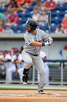 Biloxi Shuckers first baseman Taylor Green (5) at bat during the second game of a double header against the Pensacola Blue Wahoos on April 26, 2015 at Pensacola Bayfront Stadium in Pensacola, Florida.  Pensacola defeated Biloxi 2-1.  (Mike Janes/Four Seam Images)