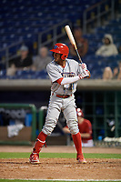 Clearwater Threshers second baseman Daniel Brito (21) at bat during a Florida State League game against the Dunedin Blue Jays on April 4, 2019 at Spectrum Field in Clearwater, Florida.  Dunedin defeated Clearwater 11-1.  (Mike Janes/Four Seam Images)