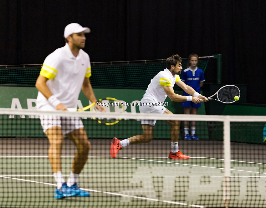 Rotterdam, The Netherlands, 3 march  2021, ABNAMRO World Tennis Tournament, Ahoy, First round doubles:  Jeremy Chardy (FRA) / Farbice Martin (FRA).<br /> Photo: www.tennisimages.com