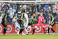 KANSAS CITY, KS - MAY 9: Goal mouth scramble in the Austin FC penalty box during a game between Austin FC and Sporting Kansas City at Children's Mercy Park on May 9, 2021 in Kansas City, Kansas.