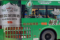 Harbin Beer advertising on a bus in Guangzhou, China. .