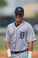 GCL Tigers West first baseman Keyder Aristigueta (9) during a game against the GCL Tigers East on July 20, 2017 at TigerTown in Lakeland, Florida.  GCL Tigers West defeated GCL Tigers East 6-5.  (Mike Janes/Four Seam Images)