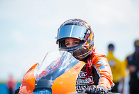 Aug 9, 2020; Clermont, Indiana, USA; NHRA pro stock motorcycle rider Angelle Sampey during the Indy Nationals at Lucas Oil Raceway. Mandatory Credit: Mark J. Rebilas-USA TODAY Sports