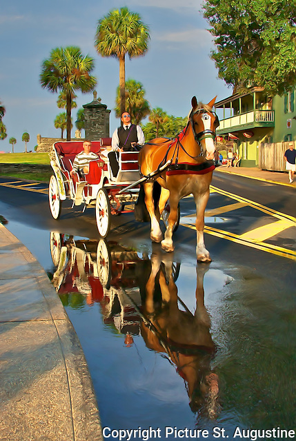 A horse and carriage passes the St. Augustine City gates on a rainy afternoon