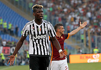 Calcio, Serie A: Roma vs Juventus. Roma, stadio Olimpico, 30 agosto 2015.<br /> Juventus' Paul Pogba reacts during the Italian Serie A football match between Roma and Juventus at Rome's Olympic stadium, 30 August 2015.<br /> UPDATE IMAGES PRESS/Riccardo De Luca
