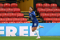 14th March 2021; Vicarage Road, Watford, Herts;  Sam Kerr of Chelsea celebrates her second goal with a backflip during the FA Womens Continental Tyres League Cup final game between Bristol City and Chelsea at Vicarage Road Stadium in Watford. FA Womens Continental Tyres Cup Final