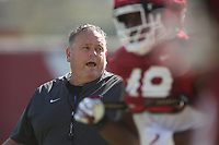 Head Coach Sam Pittman watches during the University of Arkansas Razorback Spring football practice Thursday, April 1, 2021, at the University practice field on the campus in Fayetteville. Check out nwaonline.com/210402Daily/ and nwadg.com/photos for a photo gallery.<br /> (NWA Democrat-Gazette/David Gottschalk)