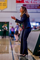 26 January 2019: Stony Brook Seawolves Head Coach Caroline McCombs watches play against the University of Vermont Catamounts at Patrick Gymnasium in Burlington, Vermont. The Lady Seawolves defeated the Lady Catamounts 67-61 in America East Women's Basketball. Mandatory Credit: Ed Wolfstein Photo *** RAW (NEF) Image File Available ***