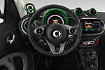 Car pictures of steering wheel view of a 2018 Smart fortwo Greenflash 3 Door Hatchback