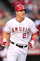 Los Angeles Angels outfielder Mike Trout #27 runs the bases against the New York Yankees at Angel Stadium on September 10, 2011 in Anaheim,California. Los Angeles defeated New York 6-0.(Larry Goren/Four Seam Images)