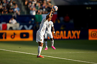CARSON, CA - JUNE 19: Julian Araujo #2 of the Los Angeles Galaxy with a throw in during a game between Seattle Sounders FC and Los Angeles Galaxy at Dignity Health Sports Park on June 19, 2021 in Carson, California.