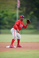 Philadelphia Phillies second baseman Brayan Gonzalez (38) waits for a warmup throw during an Instructional League game against the Toronto Blue Jays on September 30, 2017 at the Carpenter Complex in Clearwater, Florida.  (Mike Janes/Four Seam Images)