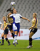 Ali Krieger of the USA and Jessica Julin of Finland. The U.S. defeated Finland, 4-1 during the Four Nations Tournament in  Guangzhou, China on January 18, 2008.