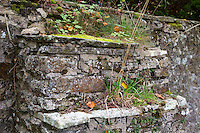 UK, England, Yorkshire.  Buttress  Reinforcing a Stone Wall Surrounding a Yorkshire Country Home.