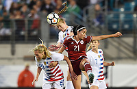 Jacksonville, FL - Thursday April 5, 2018: Allie Long, Becky Sauerbrunn, Renae Cuéllar during an International friendly match versus the women's National teams of the United States (USA) and Mexico (MEX) at EverBank Field.