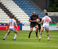 22nd August 2020; The John Smiths Stadium, Huddersfield, Yorkshire, England; Rugby League Coral Challenge Cup, Catalan Dragons versus Wakefield Trinity; Sam Kasiano of Catalan Dragons runs into contact with the ball