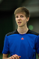 Rotterdam, The Netherlands, 15.03.2014. NOJK 14 and 18 years ,National Indoor Juniors Championships of 2014, Final boys 18 years Gijs Brouwer (NED)<br /> Photo:Tennisimages/Henk Koster