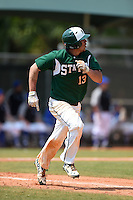 Farmingdale State Rams Nick Osburn runs to first on a home run during a game against the U-Mass Boston Beacons at North Charlotte Regional Park on March 19, 2015 in Port Charlotte, Florida.  U-Mass Boston defeated Farmingdale 9-5.  (Mike Janes/Four Seam Images)
