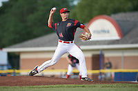 Batavia Muckdogs starting pitcher Sam Perez (44) delivers a pitch during a game against the West Virginia Black Bears on June 26, 2017 at Dwyer Stadium in Batavia, New York.  Batavia defeated West Virginia 1-0 in ten innings.  (Mike Janes/Four Seam Images)