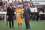 The Queen at the Derby racecourse 1987. On her left is Lord Porchester the Earl Carnarvon 1980s  UK