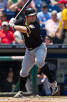 Pittsburgh Pirates  catcher Michael McKenry #55 at bat during the Major League Baseball game against the Philadelphia Phillies on June 28, 2012 at Citizens Bank Park in Philadelphia, Pennsylvania. The Pirates defeated the Phillies 5-4. (Andrew Woolley/Four Seam Images).
